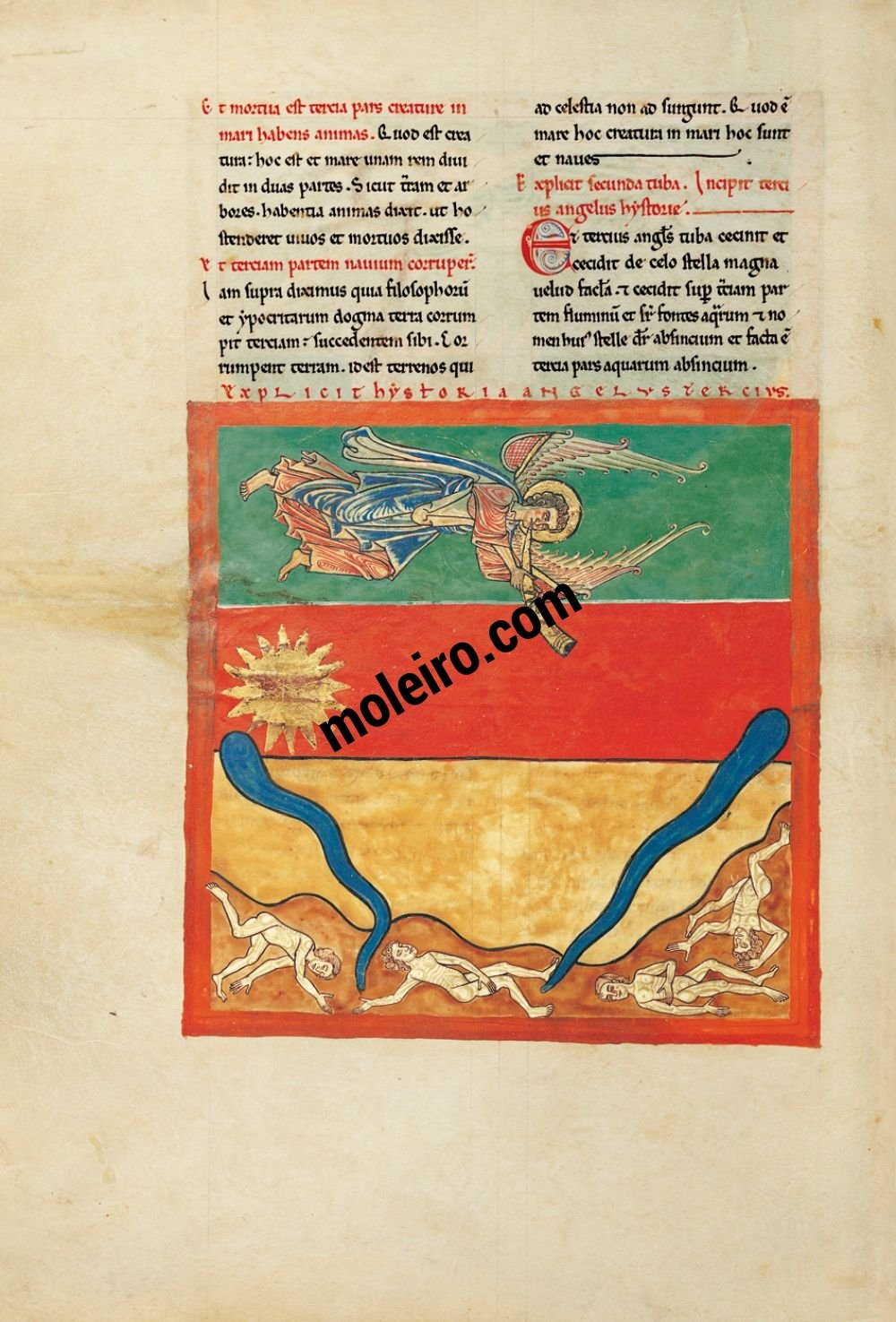 Cardeña Beatus f. 96v, The angel with third trumpet: the great, burning star