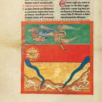 f. 96v, The angel with third trumpet: the great, burning star