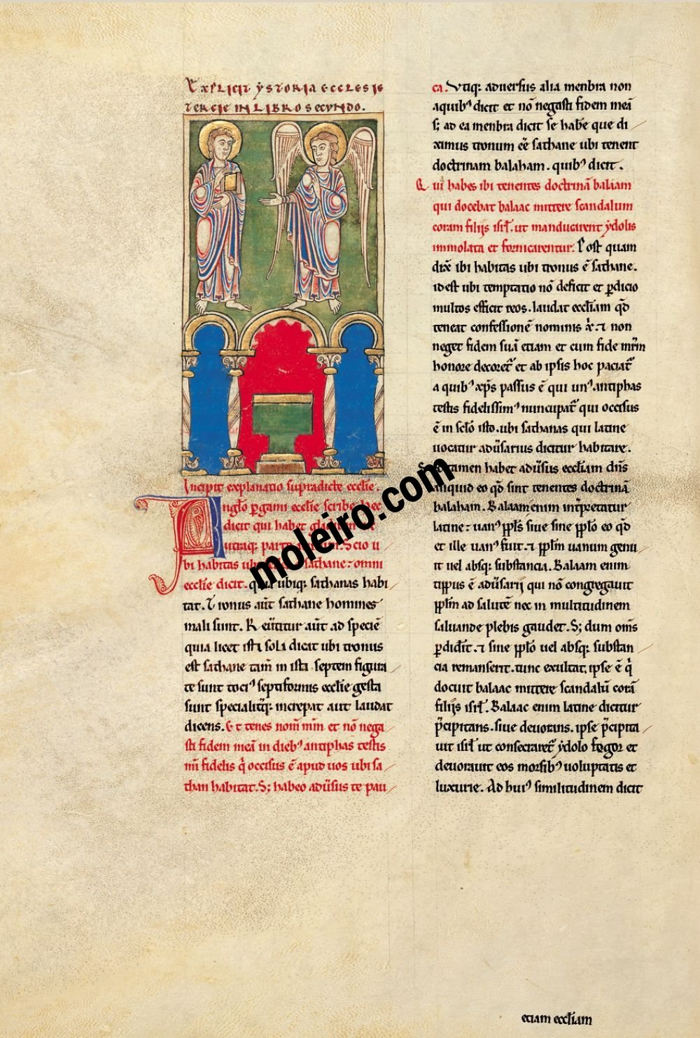 Cardeña Beatus f. 48v, The message to the Church of Pergamum