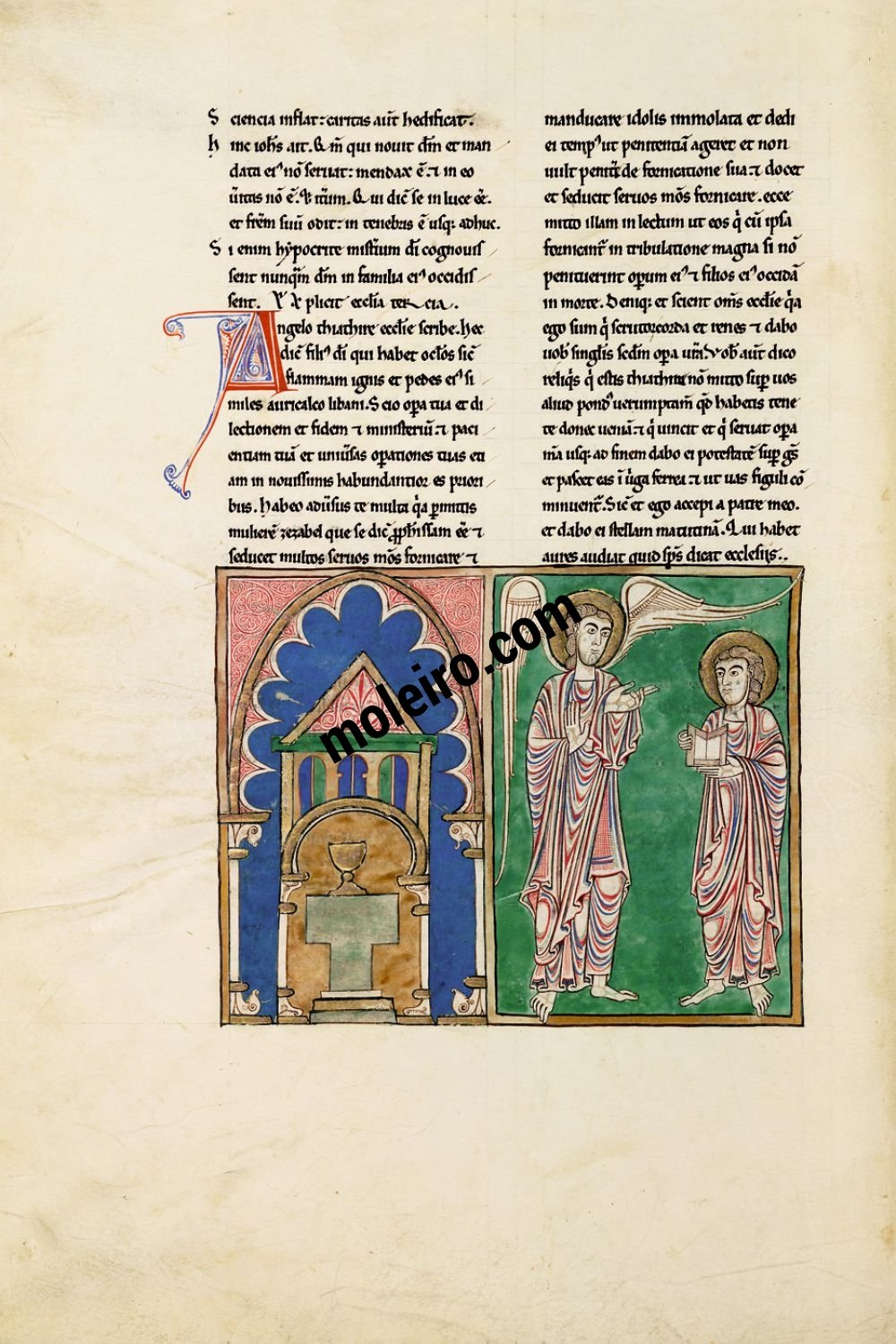 Cardeña Beatus f. 51v, The message to the Church of Thyatira
