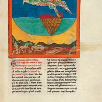 f. 96r, The angel with the second trumpet: the burning mountain is cast into the sea