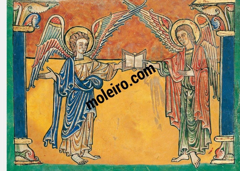 Beatus von Cardeña f. 9r, Engel mit dem Matthäus-Evangelium