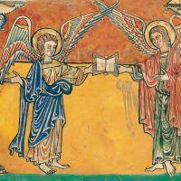 f. 9r, Angels with Matthew's gospel