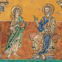 f. 9v, St Mark the Evangelist enthroned and a standing witness