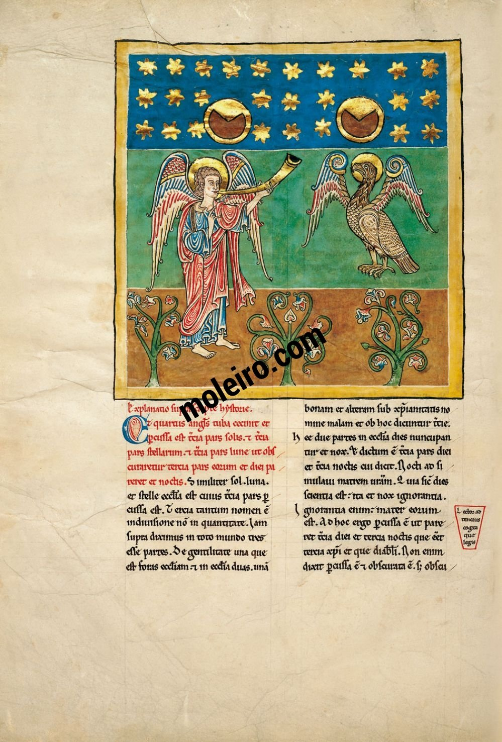 Cardeña Beatus f. 9B, The angel with the fourth trumpet: the eclipse