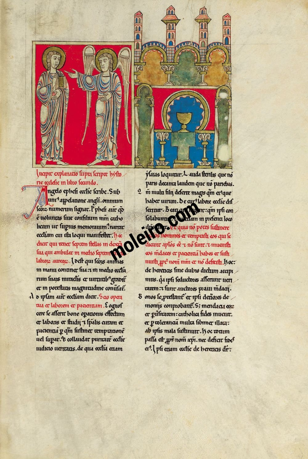 Cardeña Beatus f. 42r, The message to the Church of Ephesus