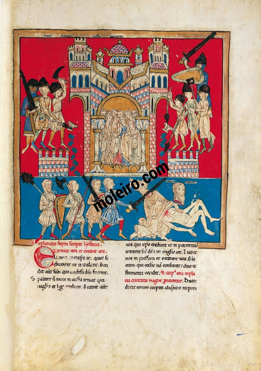 Cardeña Beatus f. 106r, The Antichrist kills the two witnesses
