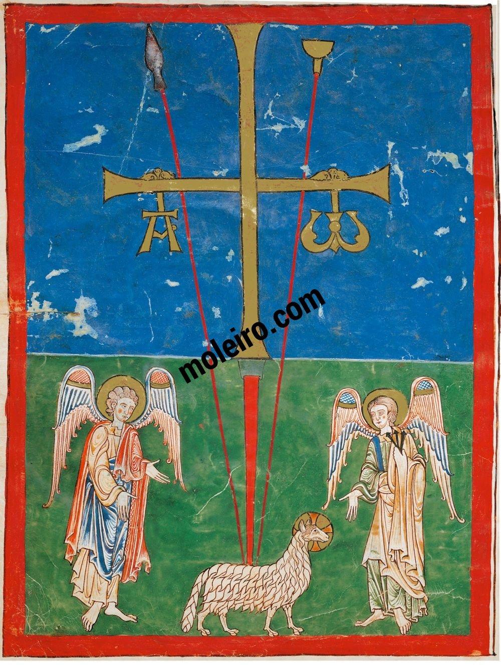 Cardeña Beatus f. 1B, Oviedo cross