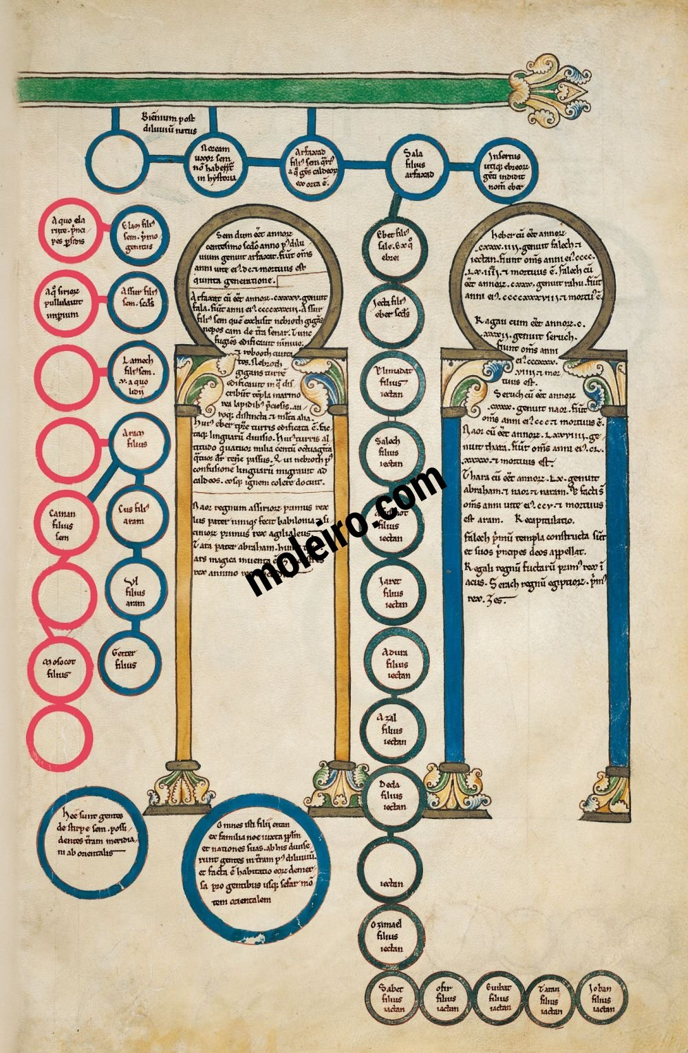 Cardeña Beatus f. 2A, Genealogy of Sem