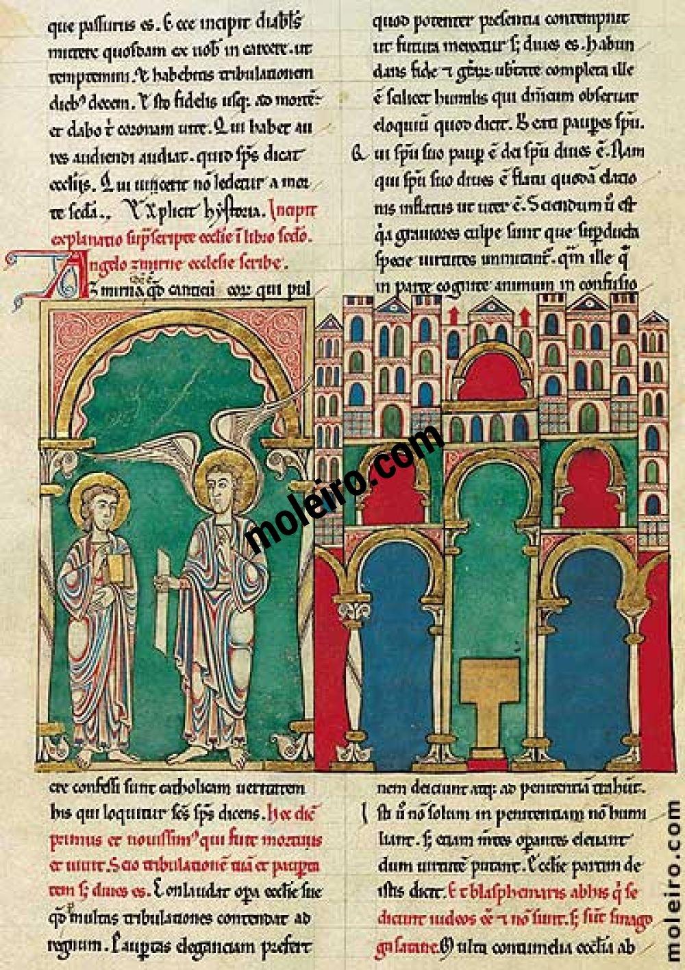 Beato de Liébana, códice del Monasterio de San Pedro de Cardeña, Burgos f. 44v, El mensaje a la Iglesia de Esmirna