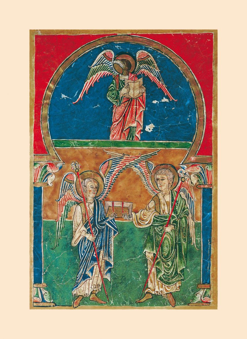 Beato de Liébana: Ángeles con el Evangelio de san Juan 1 miniatura casi-original