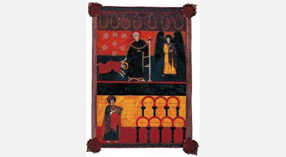 Beato de Fernando I y Sancha Juan ante las siete iglesias