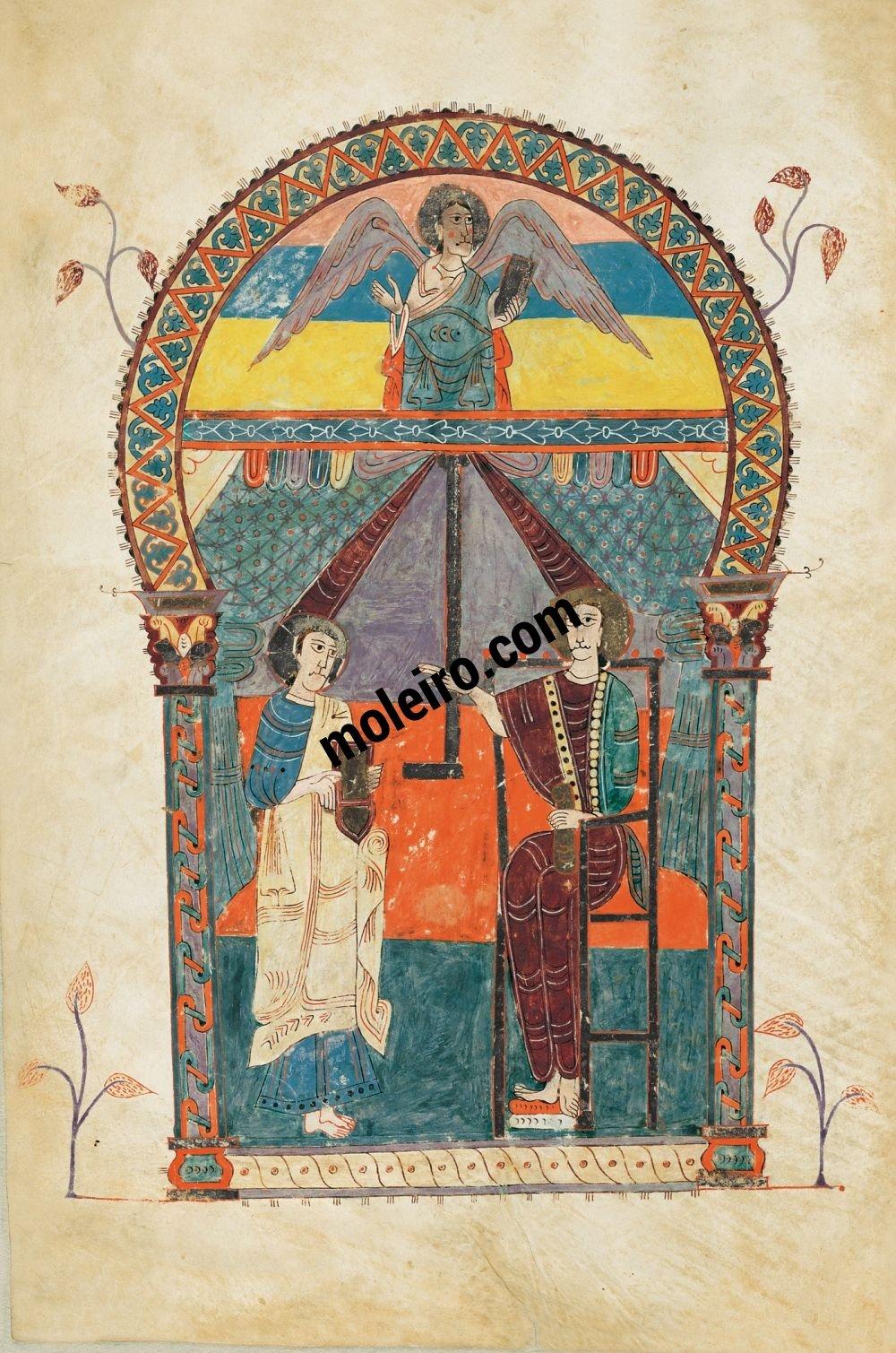 Beato de Liébana, códice del Monasterio de San Salvador de Tábara, Zamora f. 6v, Retrato de san Juan con el testigo