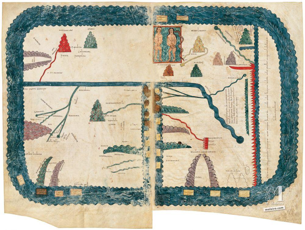 Beatus von Girona ff. 54v-55r, Prolog: in der Kirche: Weltkarte