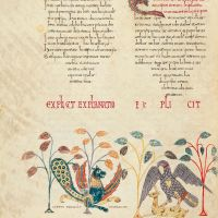 f. 165v, Decorative miniature: Coreus and the eagle catching the gazelle