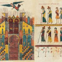 ff. 215v-216r, The fire of Babylon and the mourning of the kings and merchants