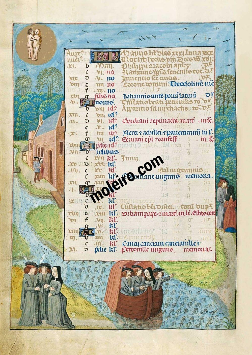 Mayo en el calendario del Breviario de Isabel la Católica (última década del s. XV, Flandes) Ms. 18851, The British Library, Londres