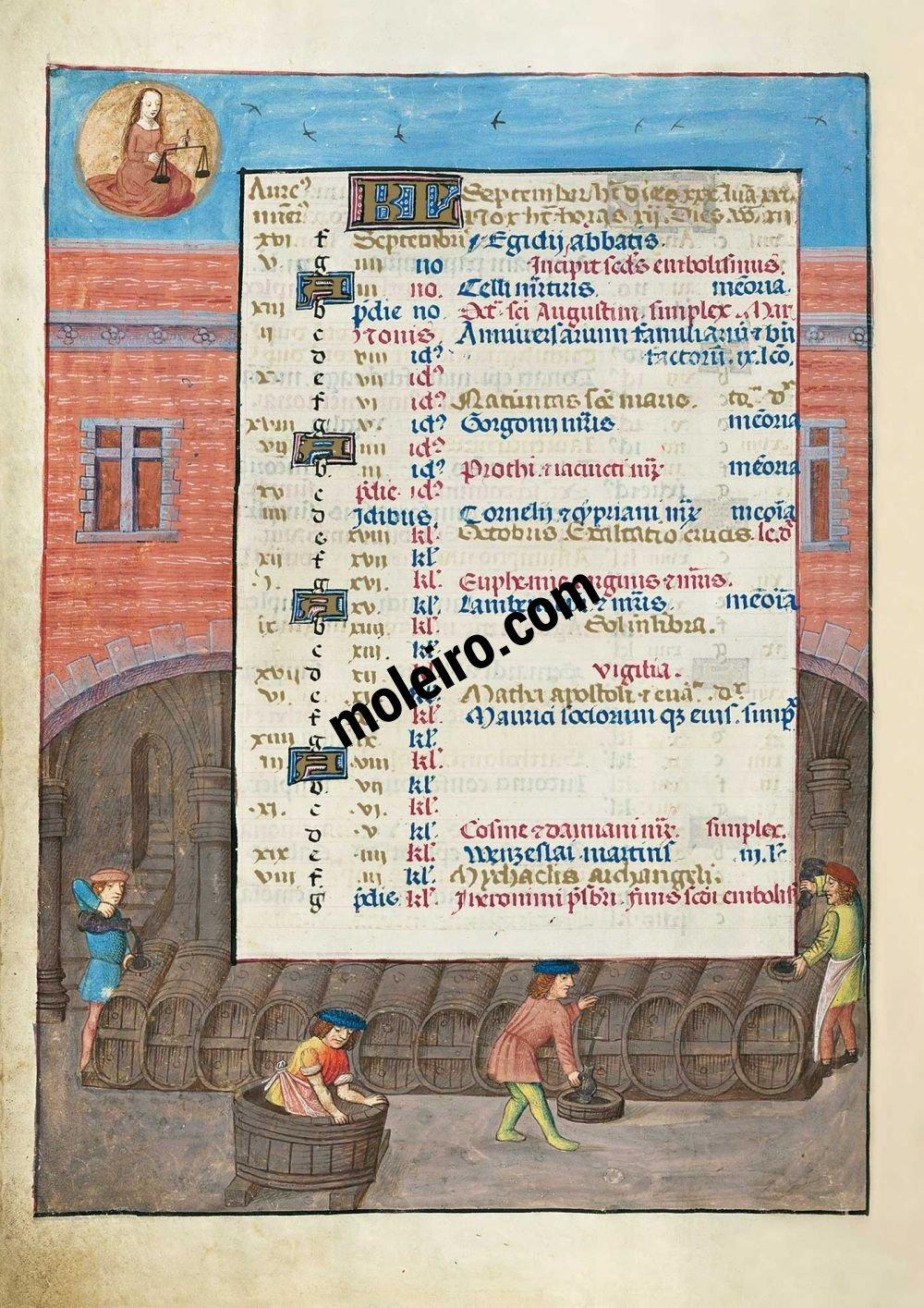 Brevier von Isabella der Katholischen f. 5v, September