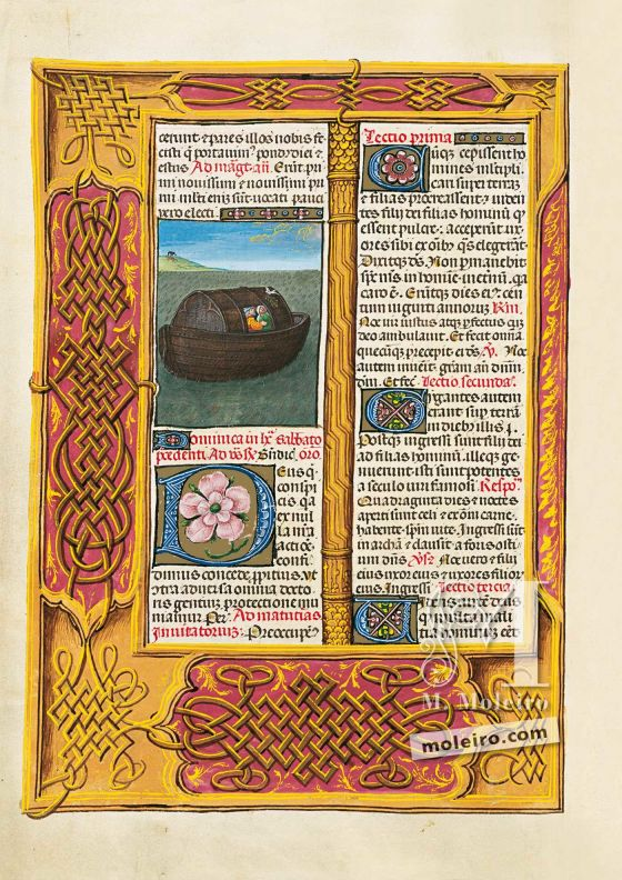 Folio 65v, El Arca de Noé en el Breviario de Isabel la Católica (última década del s. XV, Flandes) Ms. 18851, The British Library, Londres