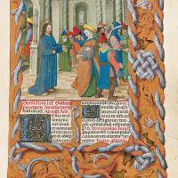 f. 86r, Cristo y la adúltera