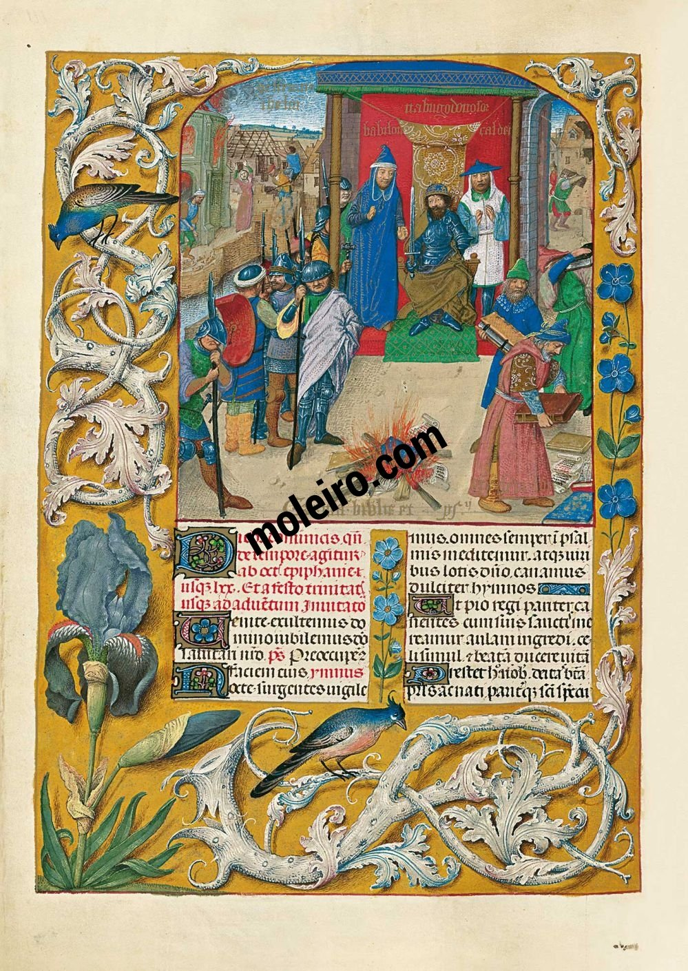 The Isabella Breviary f. 111v, Nebuchadnezzar presides over the burning the books of the Temple