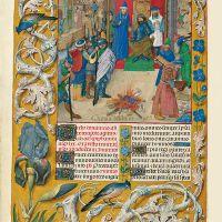 f. 111v, Nabucodonosor preside la quema de los libros en el Templo (Salmo 94)