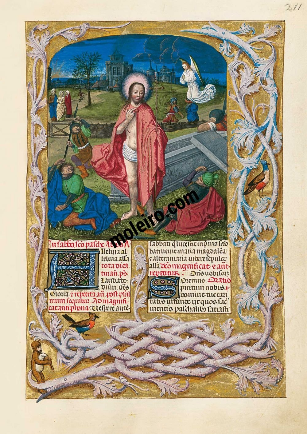 f. 211r, Resurrección de Cristo. Breviario de Isabel la Católica (última década del s. XV, Flandes) Ms. 18851, The British Library, Londres