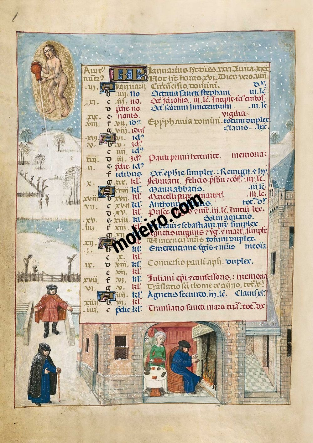 The Isabella Breviary f. 1v, January