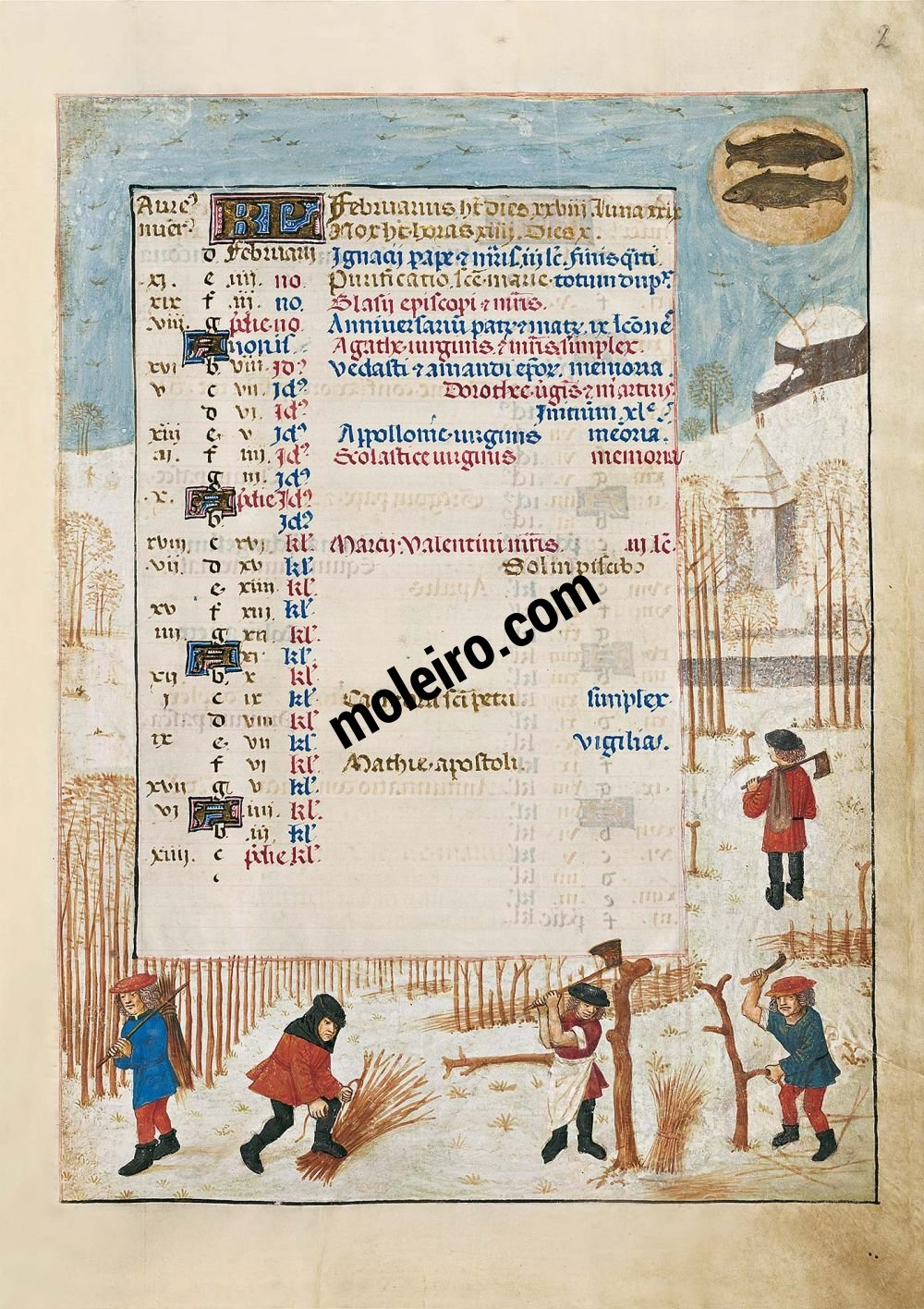 The Isabella Breviary f. 2r, February