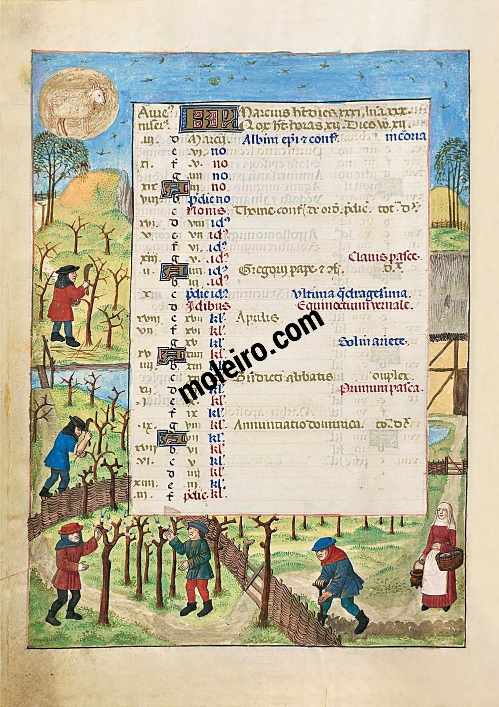 The Isabella Breviary f. 2v, March