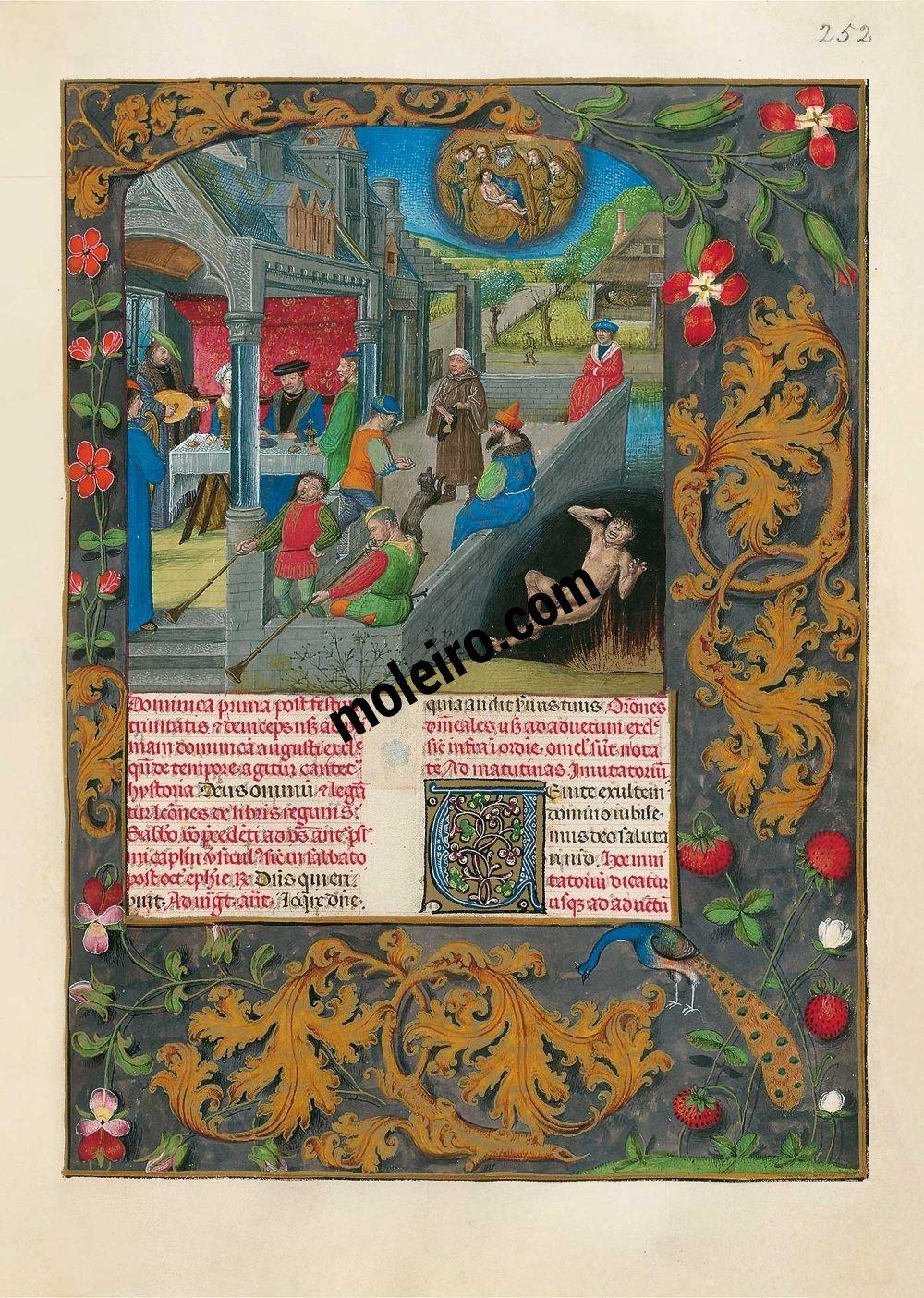 Le Bréviaire d'Isabelle la Catholique f. 252r, La parabole du mauvais riche et du pauvre Lazare
