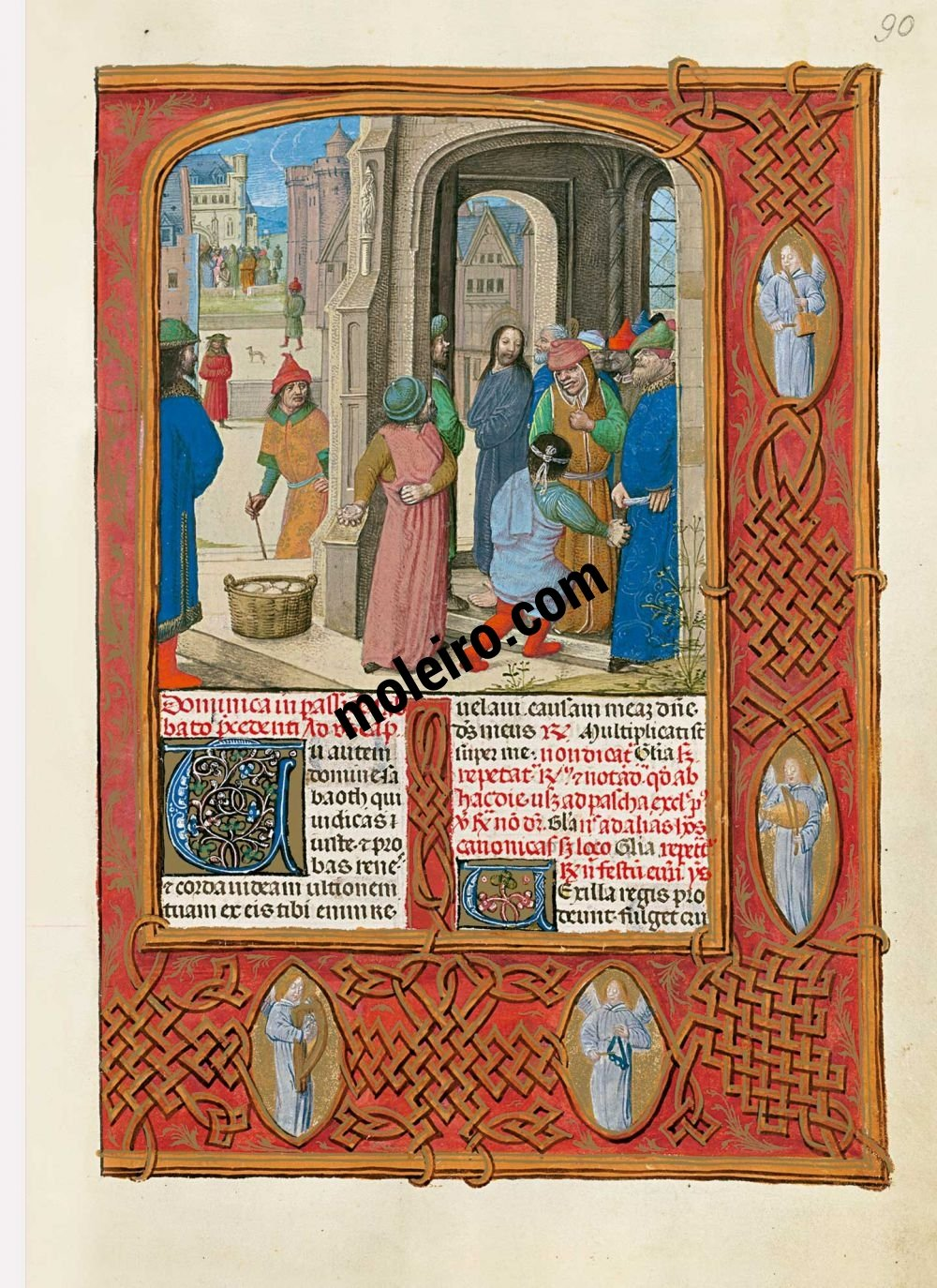 The Isabella Breviary f. 90r, Jews threaten to stone Christ
