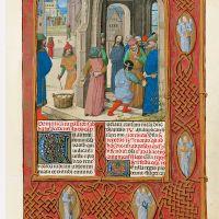 f. 90r, Los jud&iacute;os amenazan con lapidar a Cristo</p>