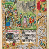 f. 132r, David maldecido y apedreado por Semeí