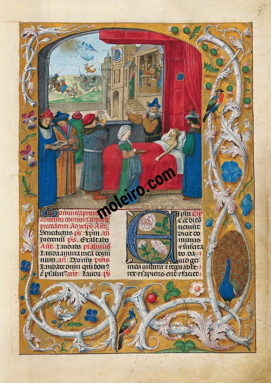 folio f. 9r, David en su lecho de muerte, imagen del Breviario de Isabel la Católica (última década del s. XV, Flandes) Ms. 18851, The British Library, Londres