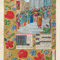 f. 184v, El rey David y sus músicos sobre las quince gradas del Templo