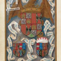 f. 436v, The coat of arms of the Catholic Monarchs and those of their two children and respective spouses
