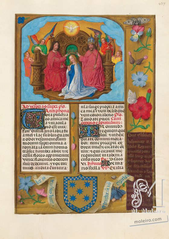 The Isabella Breviary f. 437r, Apology of the coronation of Queen Isabella - The Crowning of Our Lady