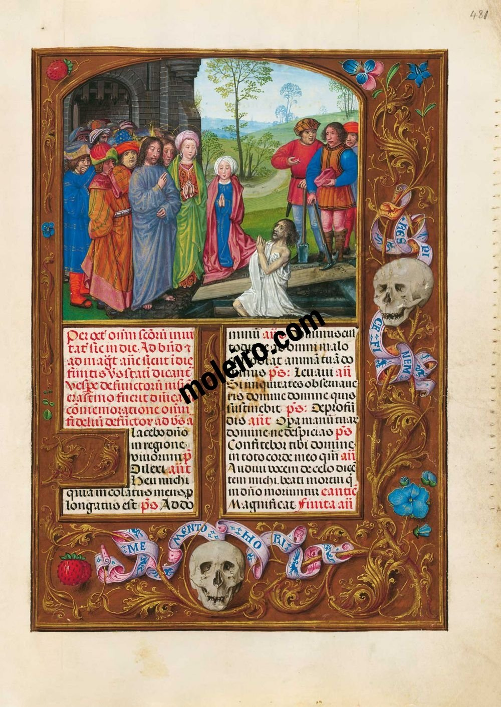 The Isabella Breviary f. 481r, The Resurrection of Lazarus