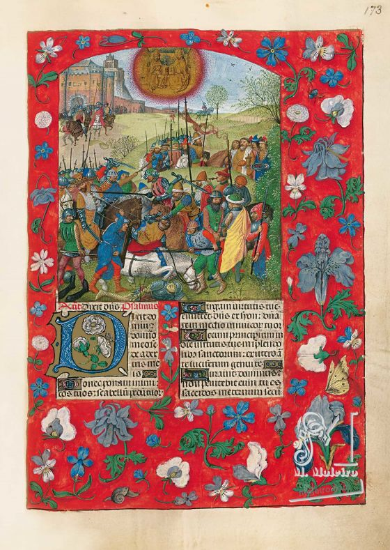 The Isabella Breviary f. 173r, Apology of the conquest of Granada in 1492 - Abraham rescues Lot and is rewarded by Melchisedech