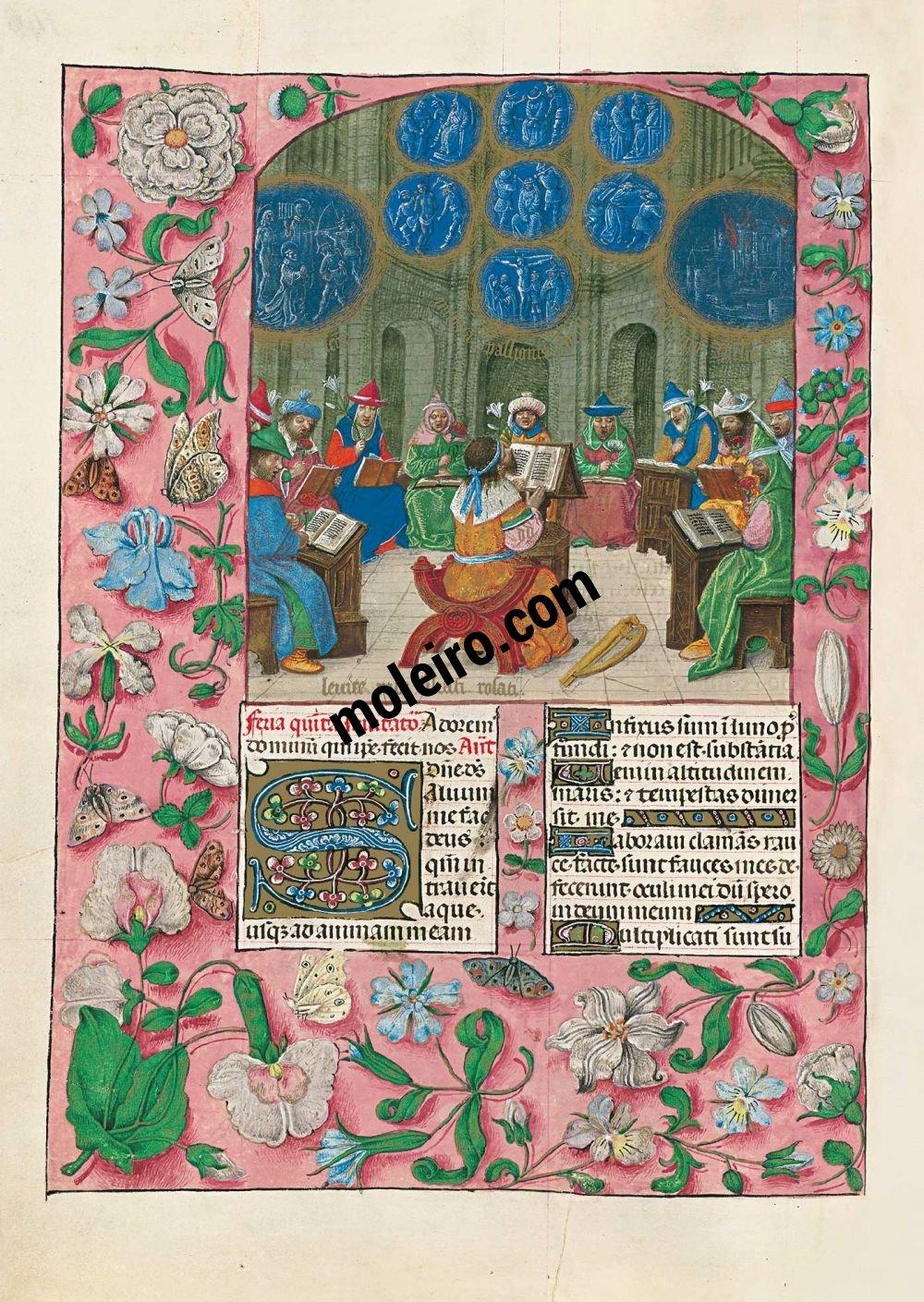 f. 146v, David y los cantores del Templo. Breviario de Isabel la Católica (última década del s. XV, Flandes) Ms. 18851, The British Library, Londres