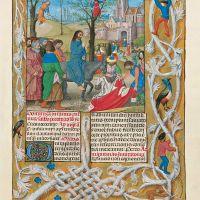 f. 96r, La entrada de Jesús en Jerusalén