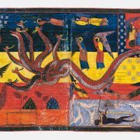 ff. 186v-187, Die als Sonne bekleidete Frau und der Drache