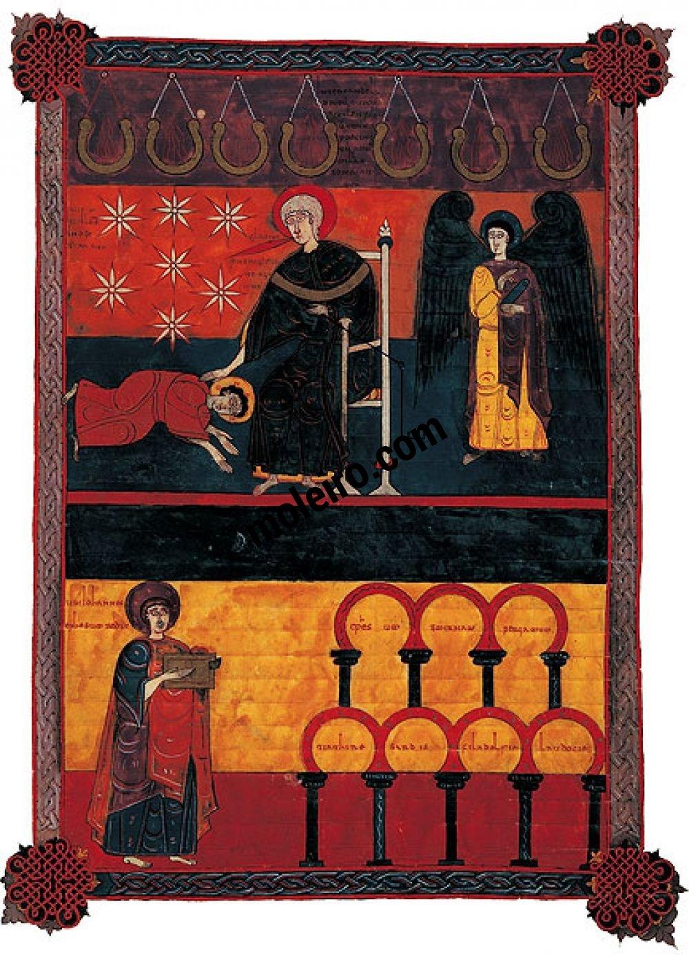 f. 46, Visión del anciano de cabellos blancos (Apoc. I, 10-20) - Beato de Liébana, códice de Fernando I y doña Sancha