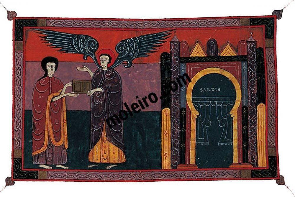 Beato de Liébana, códice de Fernando I y doña Sancha f. 96r, El ángel de Sardes y Juan