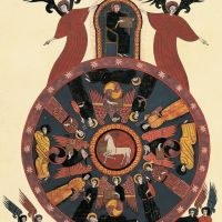 f. 116v, Visión del Cordero, tetramorfos y ancianos (Apoc. V)