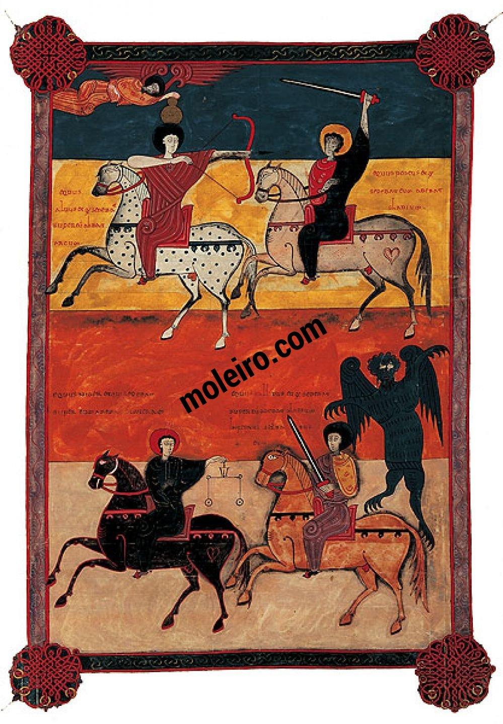 Beato de Liébana, códice de Fernando I y doña Sancha f. 135, Visión de los cuatro jinetes (Apoc. VI, 1-8)