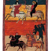 f. 135, Visión de los cuatro jinetes (Apoc. VI, 1-8)