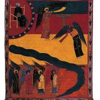 f. 173, El sexto ángel toca la trompeta (Apoc. IX, 13-16)