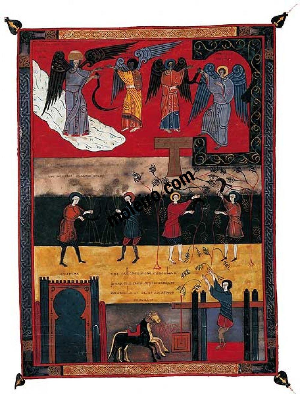 Beato de Liébana, códice de Fernando I y doña Sancha f. 209, Siega, vendimia y lagar de la ira de Dios (Apoc. XIV, 14-20)